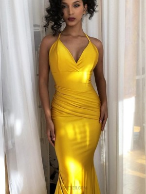 Simple Spaghetti Straps Yellow Ruched Mermaid Prom Dress