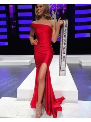 One Shoulder Ruched Red Satin Prom Dress With Side Slit