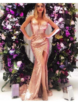 Spaghetti Straps Rose Gold Ruched Sequin Prom Dress With Side Slit