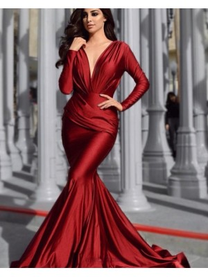 Deep V Neck Burgundy Ruched Satin Mermaid Prom Dress With Long Sleeves