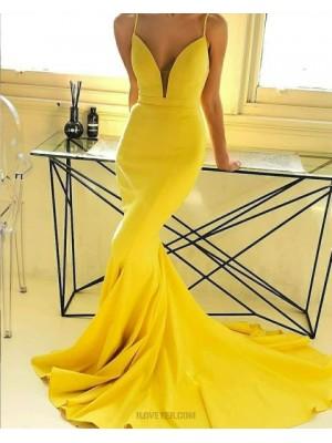 Simple Spaghetti Straps Yellow Satin Mermaid Prom Dress
