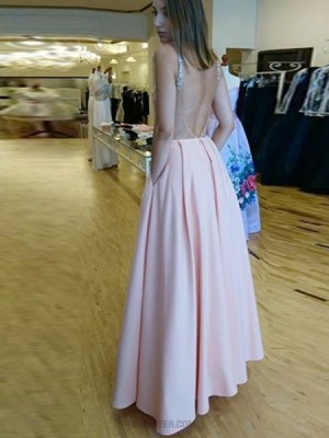 Scoop Pink Beading Satin Prom Dress With Pockets