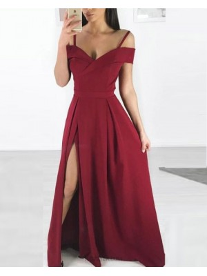 Cold Shoulder Burgundy Pleated Long Prom Dress With Side Slit