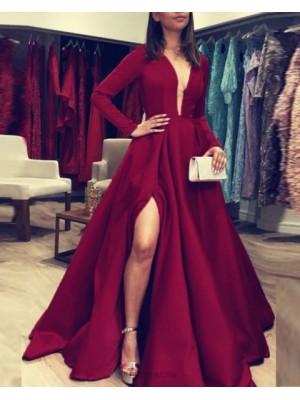 Deep V Neck Burgundy Satin Simple Evening Dress With Long Sleeves