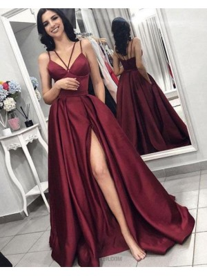 Double Spaghetti Straps Burgundy Satin Pleated Prom Dress With Side Slit