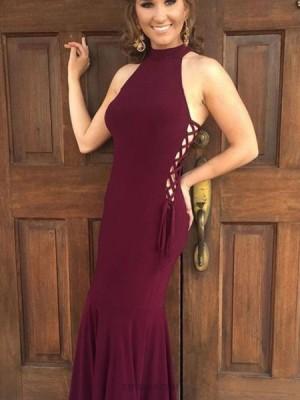 Simple High Neck Burgundy Satin Mermaid Style Prom Dress