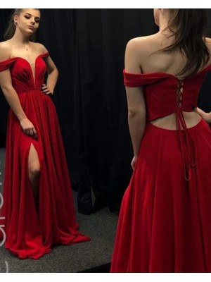 Classic V Neck Red Pleated Satin Prom Dress With Side Slit