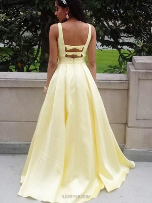 Deep V Neck Simple Yellow Satin Prom Dress With Pockets