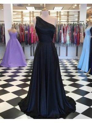 One Shoulder Simple Navy Blue Satin Prom Dress