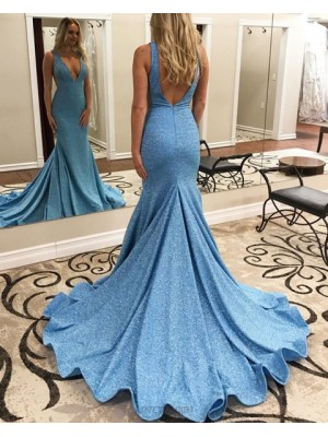 Deep V Neck Sparkle Sequin Blue Mermaid Prom Dress
