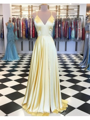 Spaghetti Straps Yellow Pleated Satin Prom Dress With Side Slit