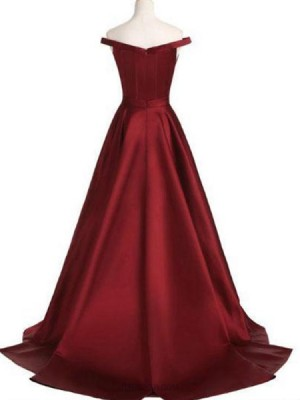 Off The Shoulder Satin Burgundy Pleated Prom Dress