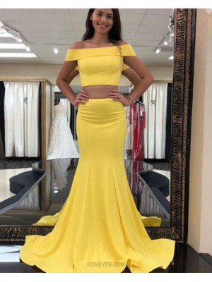 Simple Two Piece Off The Shoulder Yellow Satin Mermaid Prom Dress