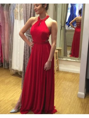 High Neck Beading Red Satin Prom Dress With Side Slit