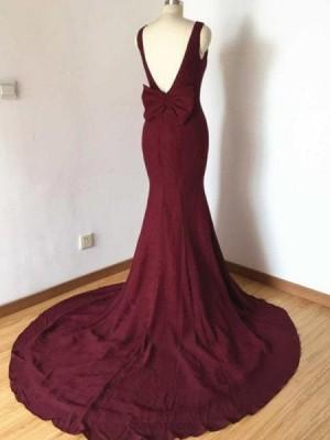Jewel Burgundy Simple Satin Mermaid Prom Dress With Bowknot