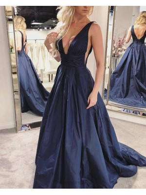 Simple Pleated Deep V Neck Navy Blue Satin Prom Dress With Pockets