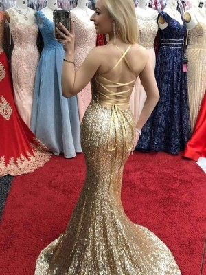 Spaghetti Straps Gold Sequin Mermaid Prom Dress With Side Slit
