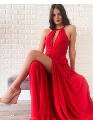 Halter Red Cutout Ruched Satin Simple Prom Dress With Side Slit