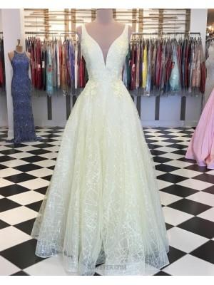Deep V Neck Light Yellow Appliqued Sparkle Prom Dress