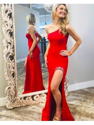 One Shoulder Red Satin Mermaid Prom Dress With Side Slit