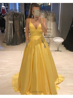 Spaghetti Straps Pleated Yellow Prom Dress With Beading Pockets
