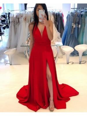Deep V Neck Red Satin Simple Prom Dress With Side Slit