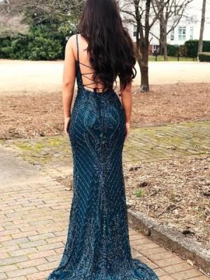 Gorgeous Square Beading Lace Navy Blue Mermaid Evening Dress