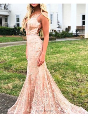 Double Straps Sparkle Pink Sequin Mermaid Prom Dress