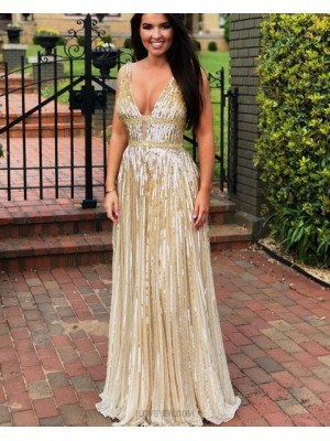 Elegant Sparkle V Neck Gold Sequin Sheath Evening Dress