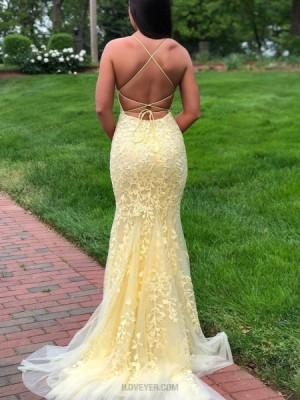 Spaghetti Straps Light Yellow Lace Mermaid Prom Dress