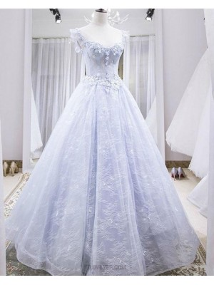 Scoop Lace Light Blue Evening Dress With 3D Flowers