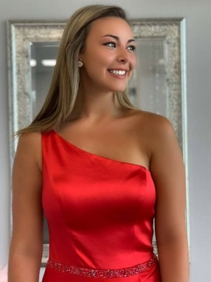 One Shoulder Red Satin Pleated Prom Dress With Side Slit