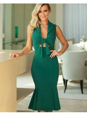 Green Satin Front Knot Mermaid Knee Length Evening Dress