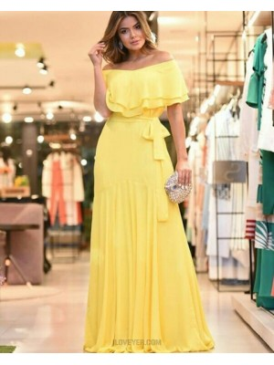 Off The Shoulder Chiffon Pleated Yellow Prom Dress