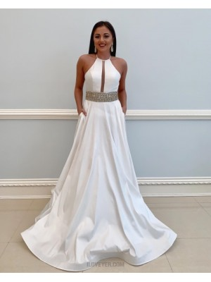 High Neck White Satin Beading Prom Dress With Pockets