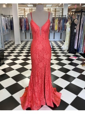 Double Spaghetti Straps Fuchsia Lace Mermaid Prom Dress With Side Slit