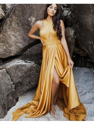 Simple Criss Cross Satin Wax Yellow Prom Dress With Side Slit