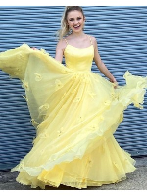 Spaghetti Straps Yellow A Line Prom Dress With Handmade Flowers
