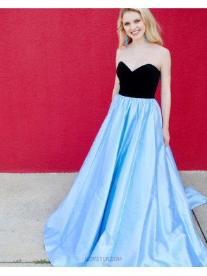 Simple Sweetheart Black & Blue Satin Prom Dress With Pockets