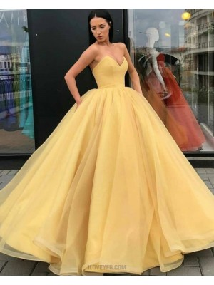 Simple Sweetheart Yellow Tulle Ball Gown Prom Dress