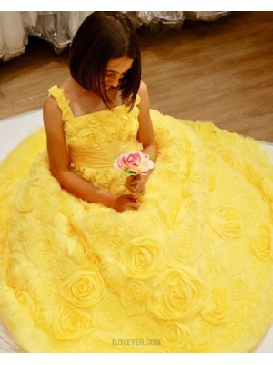 Square Neckline Yellow 3D Flower Lace Prom Dress With Bowknot