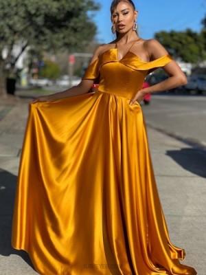 Simple Cold Shoulder Gold Satin Prom Dress