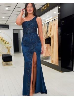 One Shoulder Navy Blue Applique Mermaid Prom Dress With Side Slit
