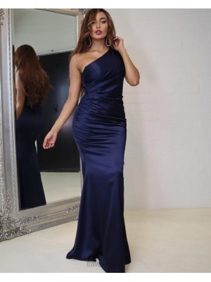 Simple Navy Blue Ruched Satin One Shoulder Prom Dress