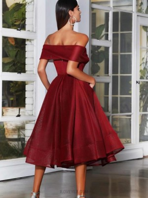 Off The Shoulder Ruched Burgundy Ankle Length Graduation Dress