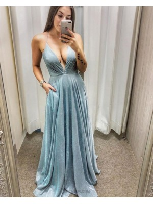 Light Blue Ruched Metallic A Line Prom Dress With Pockets