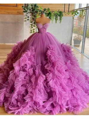 Sweetheart Purple Beading Bodice Tulle Ruffle Pleated Ball Gown Evening Dress