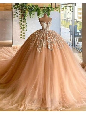 Sweetheart Applique Tulle Pleated Champagne Ball Gown Evening Dress