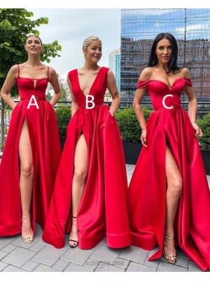 Simple Spagehtti Straps Red Cutout Satin Side Slit Prom Dress With Pockets