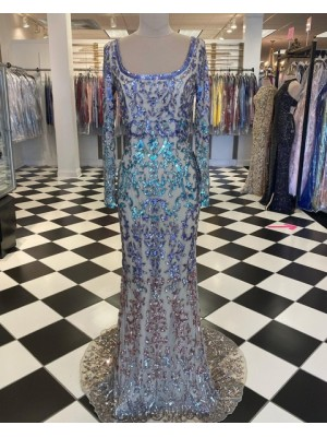 Scoop Sequin Lace Mermaid Prom Dress With Long Sleeve